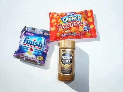 3 x Coles Little Shop minis: Nescafe, Finish, Crunch