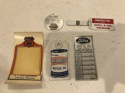 Lot Of Five: Oil Change Reminder Tags Shell Ford Champlin Atlantic Phillips 66