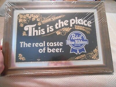 Pabst Blue Ribbon Beer Bar Mirror- NOS, This is the place The Real Taste of Beer