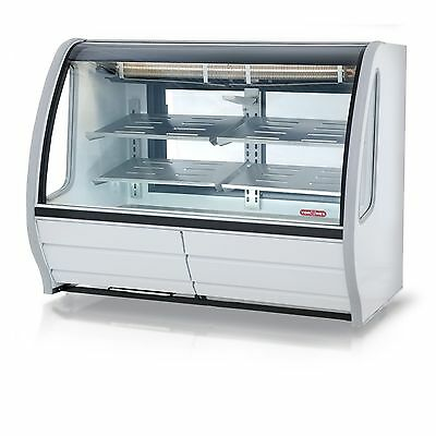 "New White 56"" Curved Glass Deli Bakery Display Case Refrigerated Casters Tor Rey"