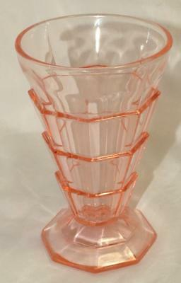 "Indiana Glass TEA ROOM Pink Depression 5.25"" Footed Tumbler"