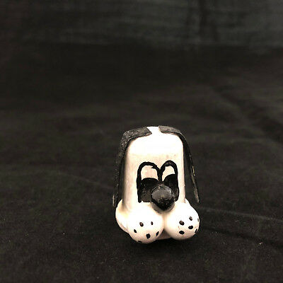 Vintage Wood Dog Thimble Hand Painted Black and White