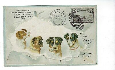 1895? Quaker Bread, Chicago Trade Card Heissler & Junge, Dogs, 2 Cows Stamp Bull