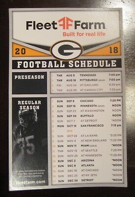 "Green Bay Packers 2018 Schedule Magnet 4.5"" x 7"""