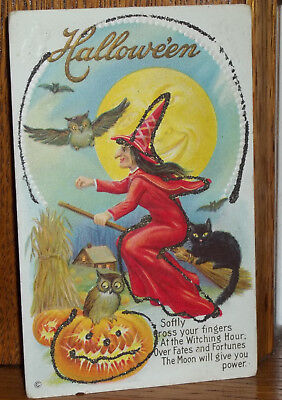 1900's Witch w/ Black Cat on Broom Halloween Post Card Series 216 C EmbossedOwls