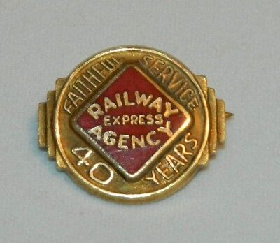 Vintage Railway Express Agency 10K Gold 40 Years Faithful Service Pin