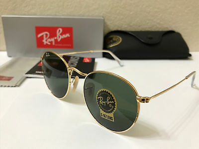 RAY-BAN Sunglasses ROUND METAL Gold Frame With Green Lens 50MM