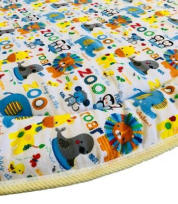 NEW Padded Round Baby Play Mat Tummy Time - Zoo Friends