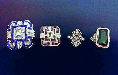 Antique Art Deco 925 Sterling Silver Blue and Purple Sapphire & Diamond Ring