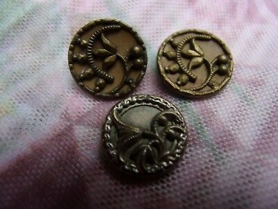 3 antique brass BUTTONs~Victorian era~2 FLORAL designs~sewing and art projects!