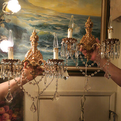 PAIR lamp Sconce rose Vintage Gilt Bronze Brass Crystal lamp ROCOCO chandelier
