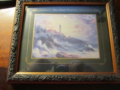 """Thomas Kinkade """"Clearing Storms"""" Custom Framed Paper Reproduction Print 8 X 9"""