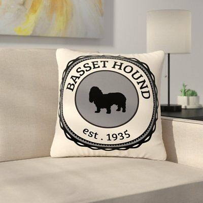 East Urban Home Basset Hound Dog Typography Outdoor Throw Pillow