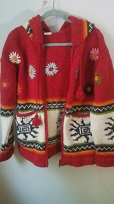 American Indian Plumas Artesanias Womens Red Hand Made Sweater Pre-Owned