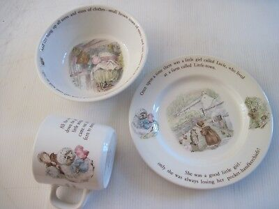 "ASSIETTE BOL MUG décor "" MRS TIGGY-WINKLE""tm WEDGWOOD of etruria & barlaston TBE"