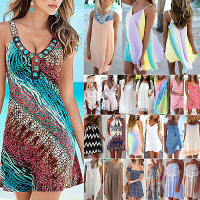 Womens Summer Holiday Beach Wear Bikini Cover Up Boho Swing Sun Mini Short Dress