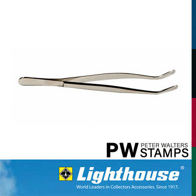 Lighthouse Stamp Tweezers / Tongs 12cm Bent Round Tip with Sleeve