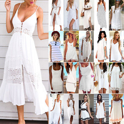 Women Summer Dress Holiday Mini Long Dress Evening Party Beach Sundress White AU