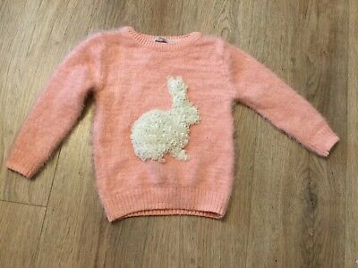New George Baby Girl Pink mohair Style soft white rose bunny Detail jumper 18-24