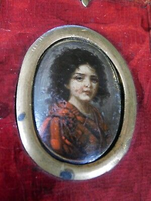 Early ANTIQUE HAND PAINTED PORTRAIT MINIATURE  in original leather frame & seal