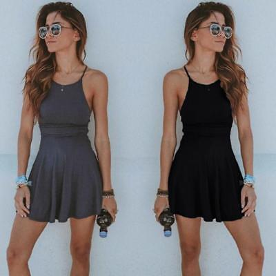 Women Summer Casual Sleeveless Evening Party Beach Dress Short Mini Dress B