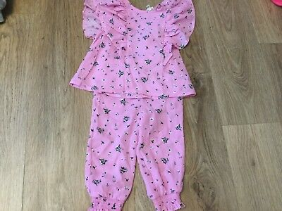 Worn once pink floral detail outfit River Island Mini Girl baby 18-24 Months