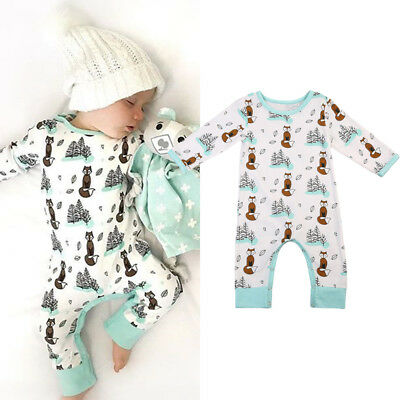 AU Newborn Baby Girls Boys Fox Romper Bodysuit Jumpsuit Playsuit Outfits Clothes