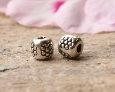 50 Metal Alloy Barrel Flower Spacer Beads 4mm x 3.5mm Antique Silver