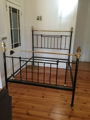 Antique Cast Iron and Brass Double Bed- Original