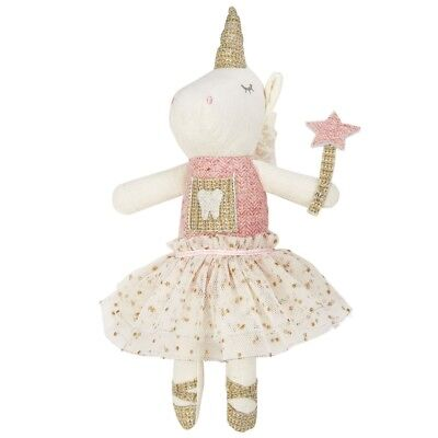 Mud Pie E8 Kids Baby Boutique Girl 9.5in Unicorn Tooth Fairy Doll 2112349