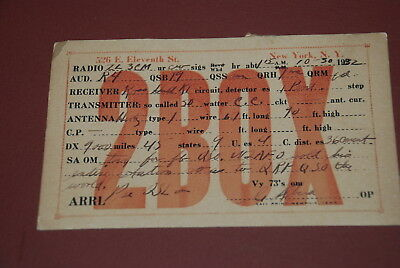 Early New York USA QSL 2BOX Postcard from 1932