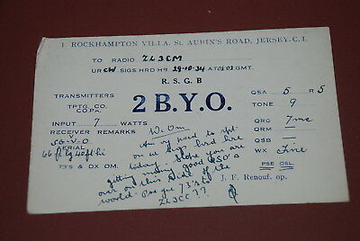 Early Jersey Channel Islands QSL 2BYO Postcard from 1934