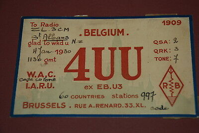 Early Belgium QSL 4UU Postcard from 1930