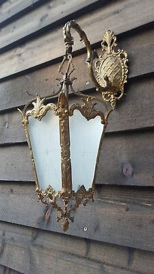 Pretty vintage French brass 1940's wall hanging lantern (J290)
