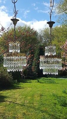 Pair of beautiful unusual vintage French empire chandeliers (R60)