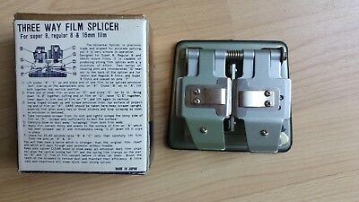 VINTAGE THREE WAY FILM SPLICER For Super 8, regular 8 & 16 mm film Made in Japan