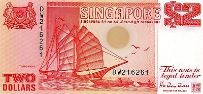 SINGAPORE $2 Dollars ND 1990 P27 UNC Banknote