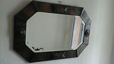 Art Nouveau Arts and Crafts style Hammered Copper Bevelled Mirror