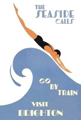 Art Deco 1920's Visit Brighton By Rail, The Seaside Calls A3 / A4 Poster Reprint
