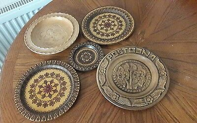 Job a lot of 5 vintage hand carved, painted and lacquered wooden trays plete+++