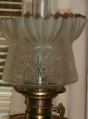 Superb Hand Made Tulip Frosted & Etched Oil Lamp Shade
