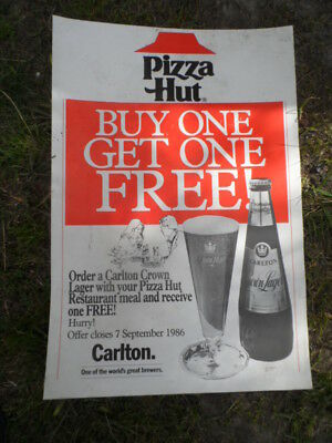 Crown Lager Advertising Poster-Pizza Hut --1986--Man Cave Or Bar