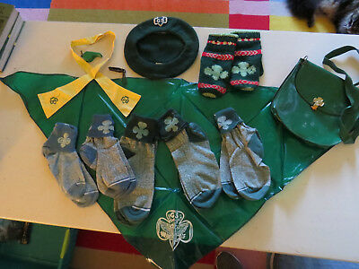 Big Lot of Vintage Girl Scout Uniform Accessories Brownie Doll Socks and MORE