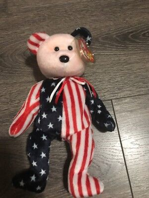 2000 Ty Beanie Baby Spangle ( American Flag USA Bear ) Red Face