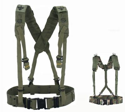 Military Style Carpenter Work Tool Belt Suspenders Drill Pouch Holder Camo