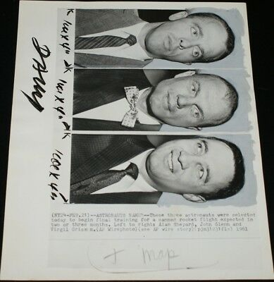 1961 Astronauts Named Historic First Manned Space Ship Wire Photo Shepard Glenn