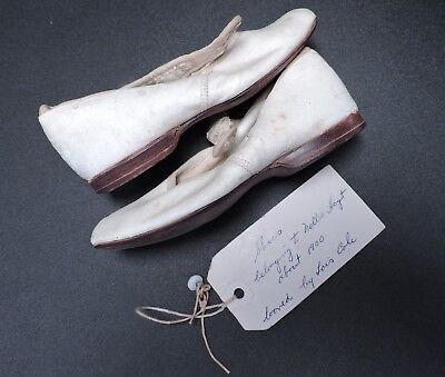 Victorian Turn Of The Century Girl's White Shoes 4 Dress W Id Of Owner
