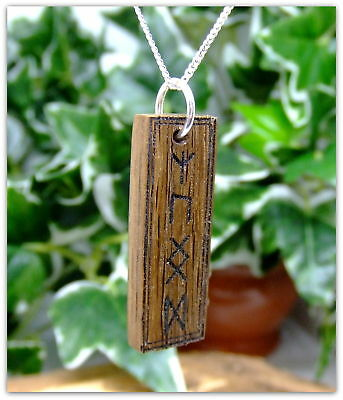 Rune symbol Pendant Necklace handcrafted in 5000 year old Irish Bog Oak Wood