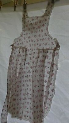 Vintage Full Bib Apron, Lightweight Cotton, Pink Roses and Lace