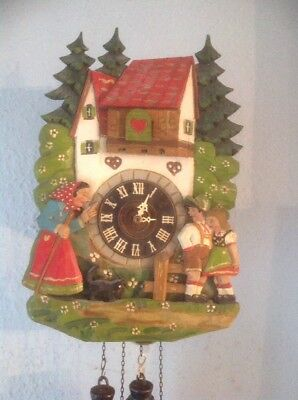 Large Old  Cuckoo Clock Unusual Face Mother Scolding Children .Black Cat